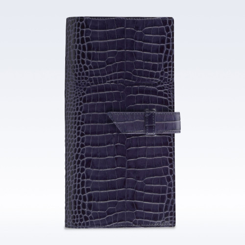 Navy Croc Leather Deluxe Travel Wallet with Strap