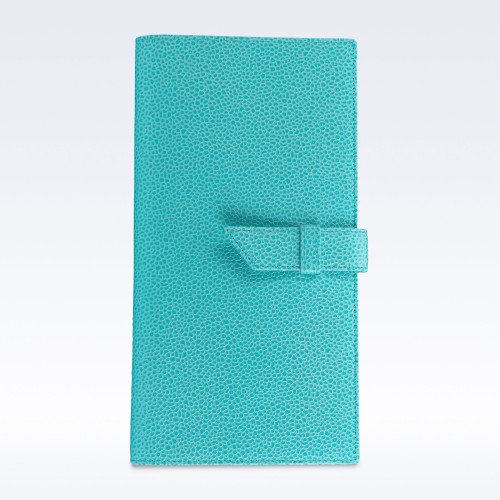 Aqua Caviar Leather Deluxe Travel Wallet with Strap
