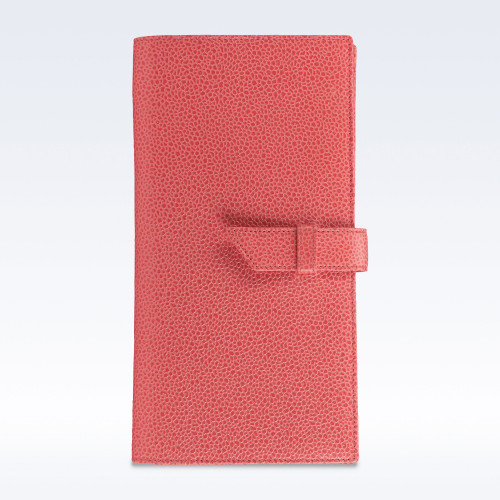 Coral Caviar Leather Deluxe Travel Wallet with Strap