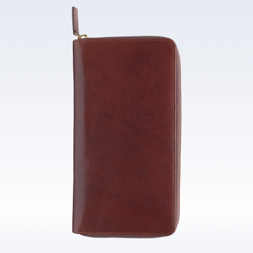 Chestnut Richmond Leather Zipped Travel Document Holder