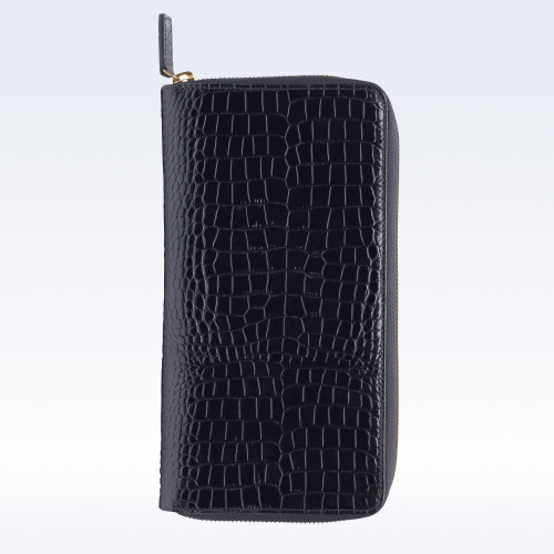 Black Croc Leather Zipped Travel Document Holder