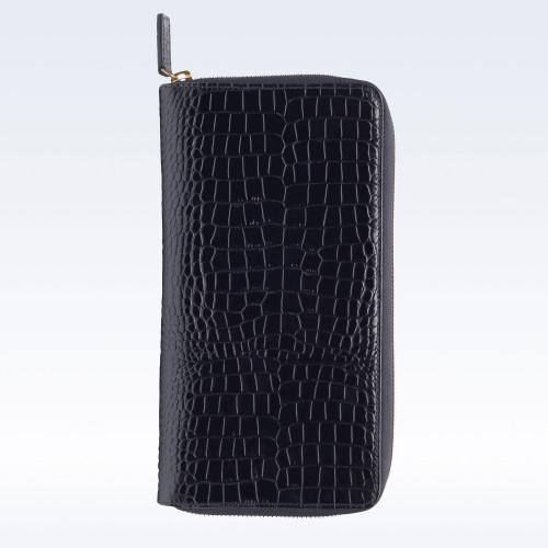 Black Croc Leather Zipped Travel Document Holder