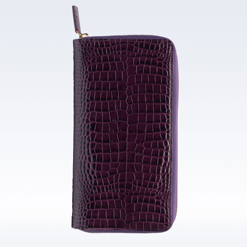 Purple Croc Leather Zipped Travel Document Holder
