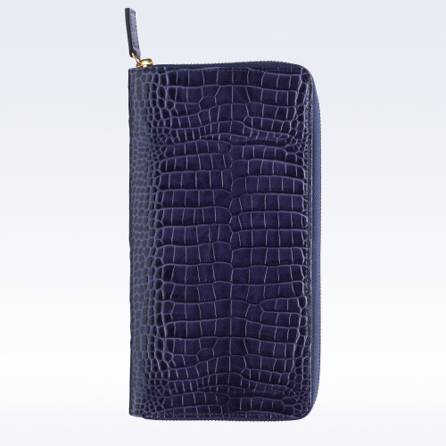 Navy Croc Leather Zipped Travel Document Holder