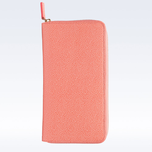 Coral Caviar Leather Zipped Travel Document Holder