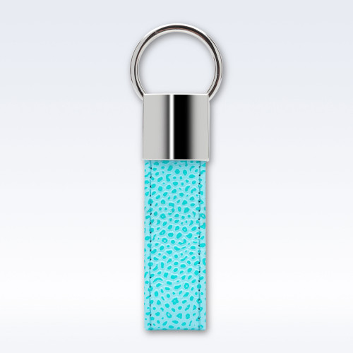 Aqua Caviar Leather Looped Key Fob