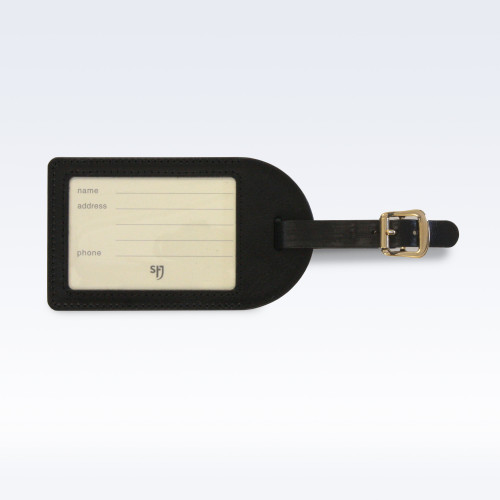 Black Richmond Leather Luggage Tag