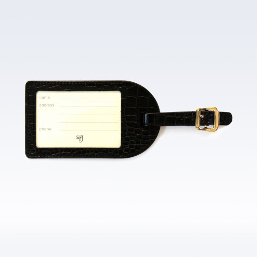 Black Croc Leather Luggage Tag