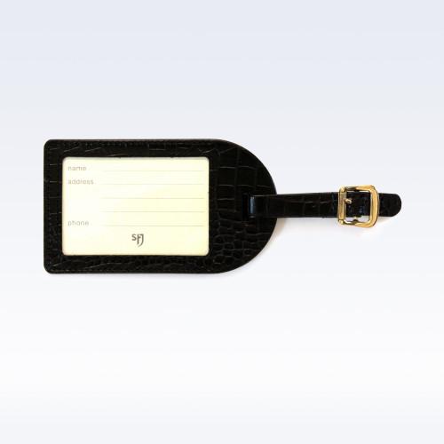 Black Croc Leather Luggage Tag