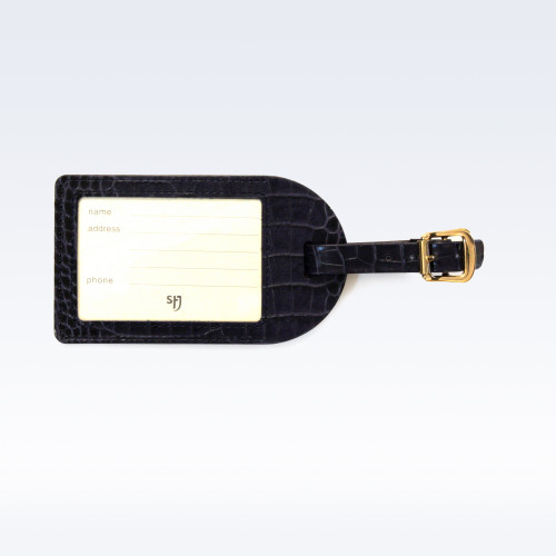 Navy Croc Leather Luggage Tag