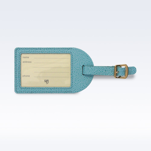 Aqua Caviar Leather Luggage Tag