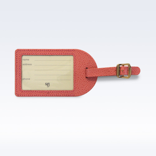 Coral Caviar Leather Luggage Tag