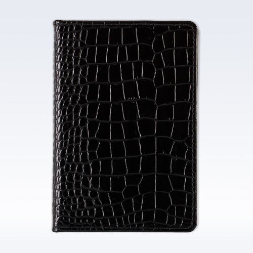 Black Croc Leather A6 Pocket Notebook