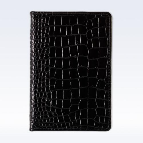 Black Croc Leather A6 Pocket Notebook