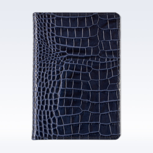 Navy Croc Leather A6 Pocket Notebook