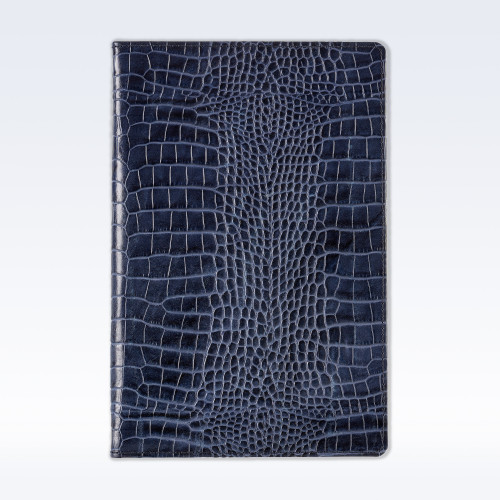 Navy Croc Leather A5 Notebook