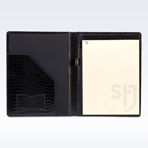 Black Croc Leather Executive A4 Folder