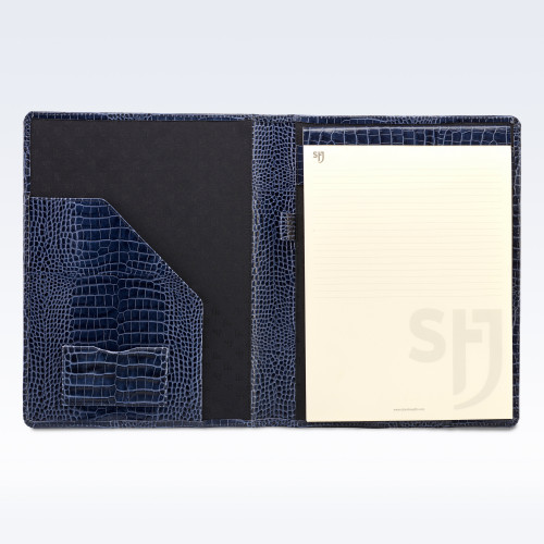 Navy Croc Leather Executive A4 Folder