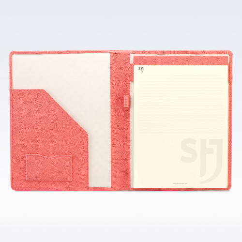Coral Caviar Leather Executive A4 Folder