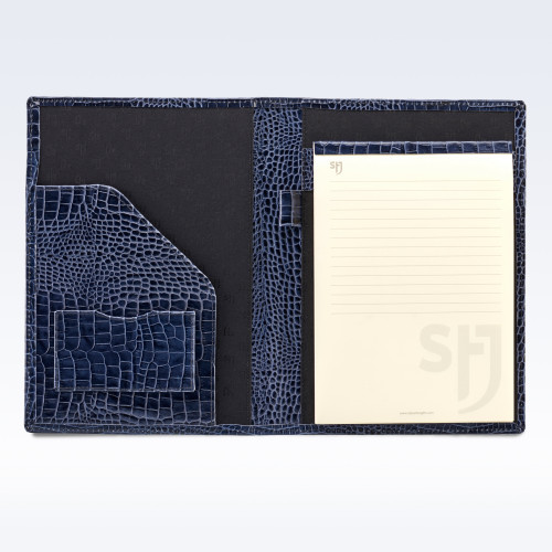 Navy Croc Leather Executive A5 Folder