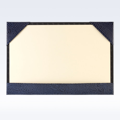 Navy Croc Leather A3 Desk Blotter