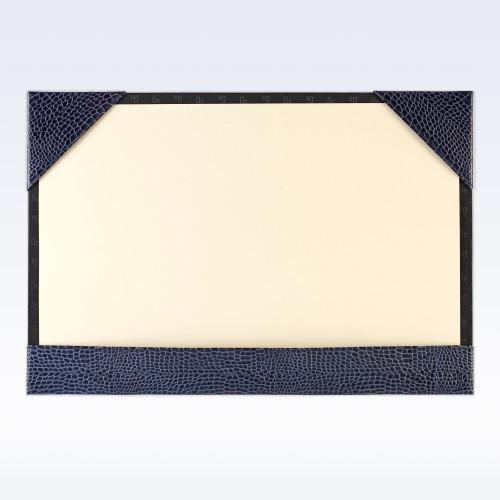 Navy Croc Leather A3 Desk Blotter