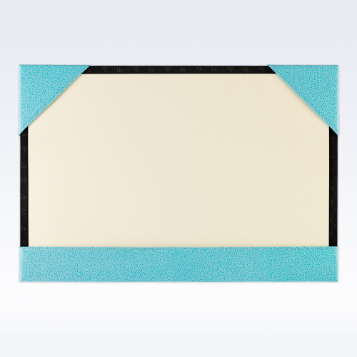 Aqua Caviar Leather A3 Desk Blotter