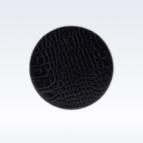 Black Croc Leather Round Coaster