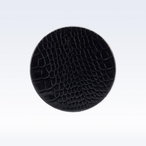 Black Croc Leather Round Coaster