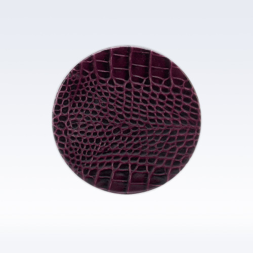 Purple Croc Leather Round Coaster