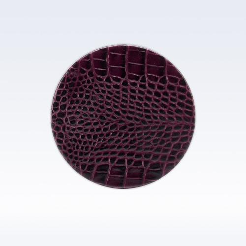 Purple Croc Leather Round Coaster