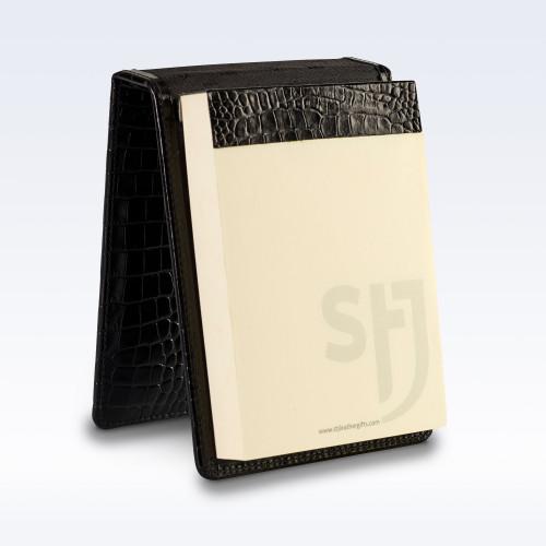 Black Croc Leather Desk Jotter Note Pad