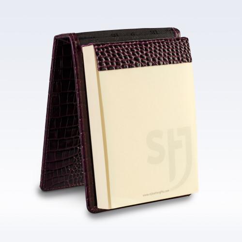 Purple Croc Leather Desk Jotter Note Pad
