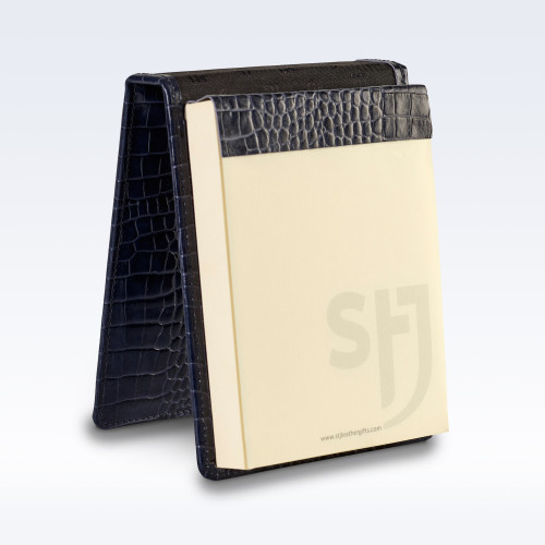 Navy Croc Leather Desk Jotter Note Pad