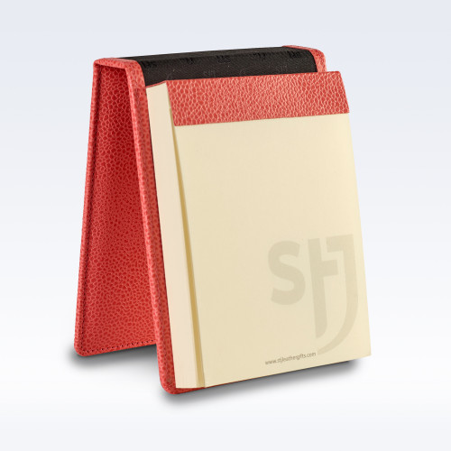 Coral Caviar Leather Desk Jotter Note Pad