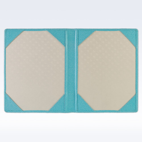Aqua Caviar Leather Certificate Holder or Photograph Frame
