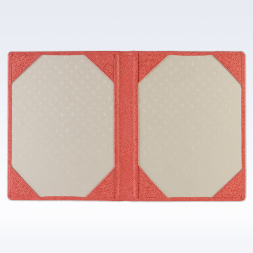 Coral Caviar Leather Certificate Holder or Photograph Frame