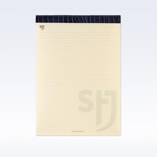 Navy Croc Leather Trimmed a4 Refill Pad