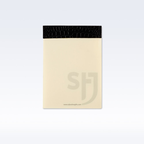 Black Croc Leather Leather Trimmed Desk Jotter Refill Pad