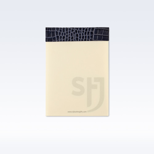 Navy Croc Leather Trimmed Desk Jotter Refill Pad