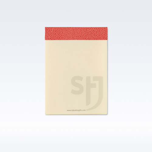 Coral Caviar Leather Trimmed Desk Jotter Refill Pad