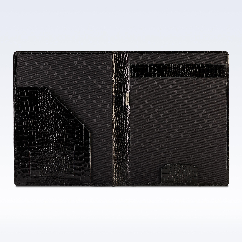 Black Croc Leather Executive A4 Folder