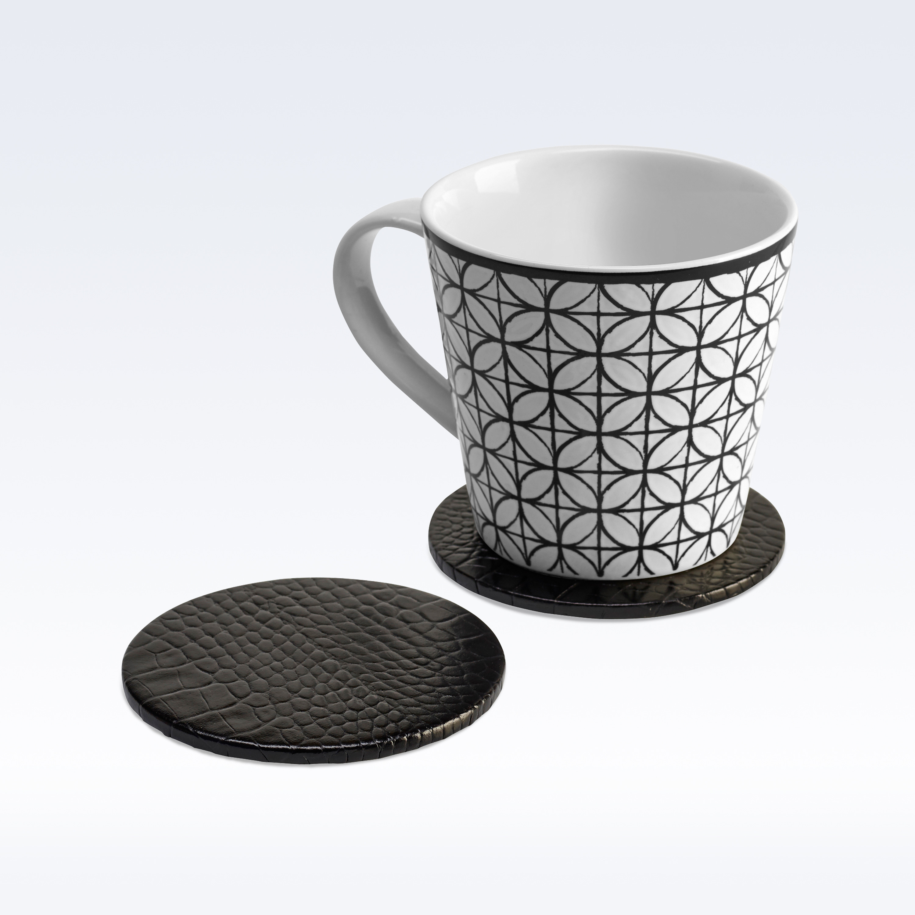 Black Croc Leather Round Coaster Coasters Home Office