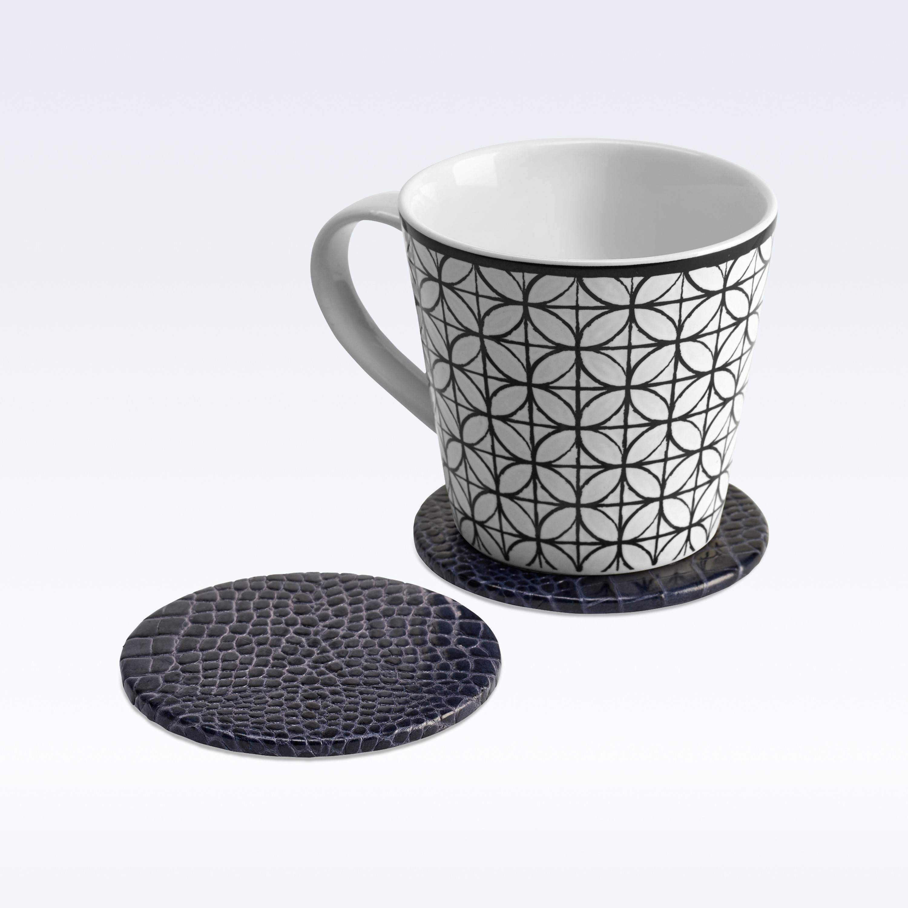 Navy Croc Leather Round Coaster Coasters Home Office